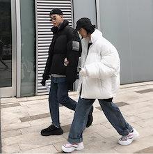 メンズファッション  綿服  OVERSIZE  純色  HIPHOP   パン服   コート 男女兼用    厚い   短い金   韓国ファッション  綿服   コート