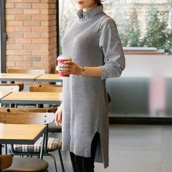 シークフォックスディクアロング・ニットベスト ベセチュウ / ニット・ベスト/ 韓国ファッション