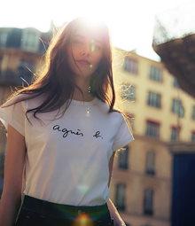 男女兼用 agnes b. アニエスベー ロゴ 半袖Tシャツ Tシャツ レディース S137 TS シンプル シャツ 夏 半袖 白 黒 ブラック ホワイト ギフト プレゼント