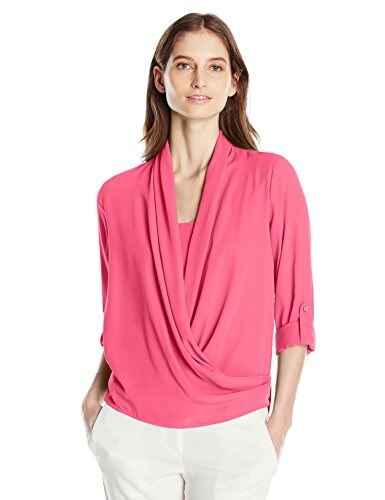NY Collection Womens Solid Long Sleeve Wrap Front Blouse with High Low Hem and Solid Woven Inset, Azalea, Large
