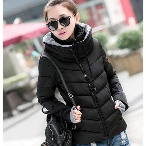 ファッション冬のコート女性ダウンパーカショートスリム薄い暖かいダブルレイヤーカラーコットンパッド入りのジャケット