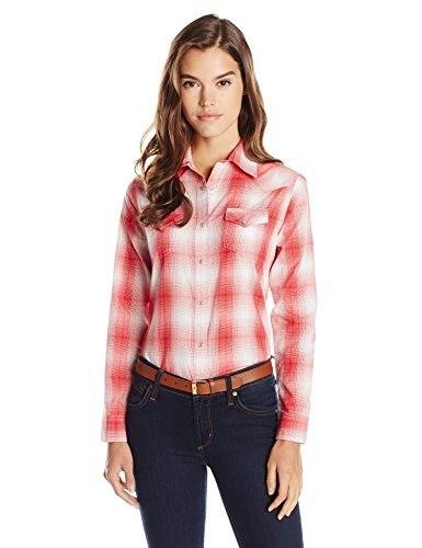 Wrangler Womens Western Fashion Shirts, Red Plaid, Medium