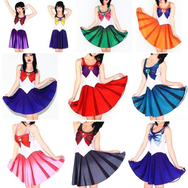2016新しい女性の服セーラームーンスタイルのハロウィンコスプレ衣装ワンピースプリーツガール傘ストレッチ