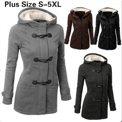 Fashion Winter Double-Breasted Warm S-5Xl Coat Women Wool Jacket Coat Hoodies Parka Horn Button Mant