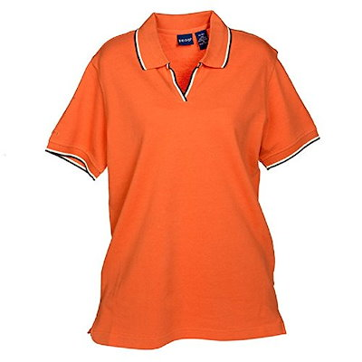Izod Womens Silk Wash Tipped Collar Polo, Size Large, Orange