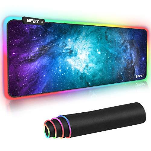 NPET マウスパッド 超大型ゲーミングマウスパッド 12モード 9色の発光色 RGB 虹モード 滑り止め USBケーブル 防撥水加工 ゲーマー向け 拡張マウスパッド 800mm x 300mm x