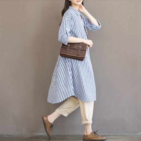 ロングストライプワンピースクールな印象のストライプパターンロングワンピースkorea fashion style