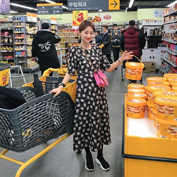 花ロングワンピース/フラワーパターン/花柄/ロングワンピース/韓国ファッション/イムブリー/IMVELY