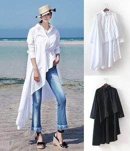 韓国ファッションシャツ/Tシャツ/新作更新レディース トップス ブラウス タック入り ロング丈通気性の良く爽やかな着心地を楽しめます ブラウス カットソー レディース 清涼感 シャツ トップスXW04