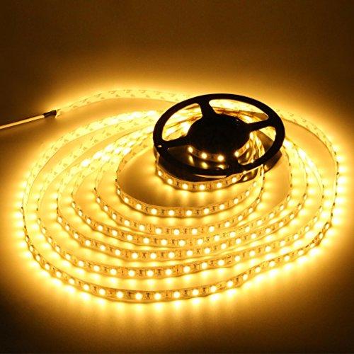 高輝度LEDテープライト SMD 2835 3528 5M 300連 強力粘着両面テープ 正面発光防水仕様IP65 切断可能 (電球