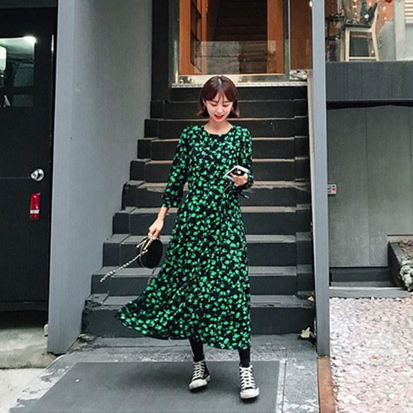 ビビッドフラワーロングワンピース/フラワーパターン/花柄/ロングワンピース/韓国ファッション/イムブリー/IMVELY