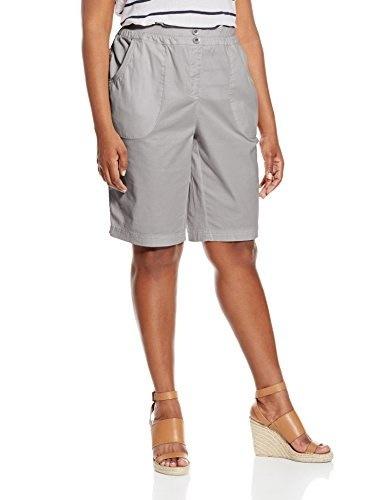 Briggs New York Womens Plus-Size Twill Skimmer Short with Knit Waistband, Light Grey, 18W