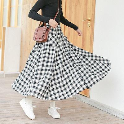 ギンガムチェックのロングスカート☆0075