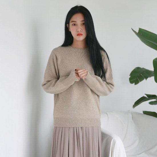 デイリー・マンデーLambswool basic round knitニート ニット/セーター/ニット/韓国ファッション