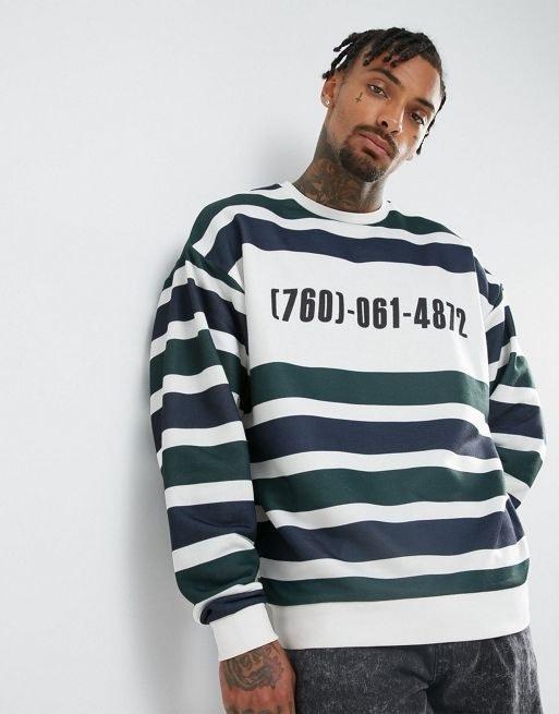 ASOS Oversized Sweatshirt with Stripe & Print
