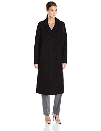 Andrew Marc Womens Long Wool Notch Collar Coat, Black, 4