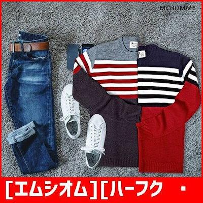 [エムシオム][ハーフクラブ/MC HOMME]エムシオムベーシック・ストライプラウンドニットシャツMD1 /ニット/セーター/ニット/韓国ファッション