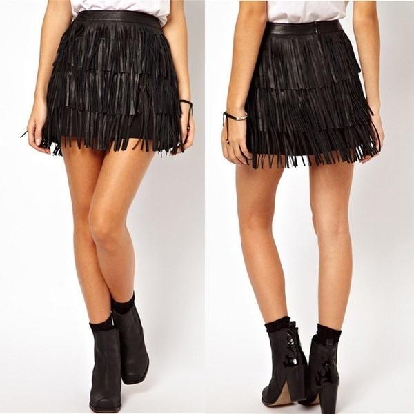 Fashion Women Tassel Skirt High Waist PU Leather Skirts for Women