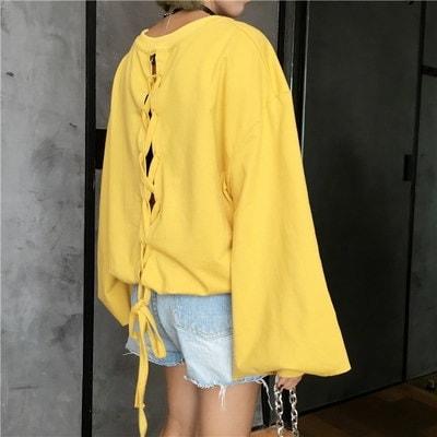 ワードプリント プルオーバー パーカーカットソー[レディース]Tシャツ・ブラウス・パーカー・トレーナー・セットアップ・リュック・バッグ・韓国ファッション9