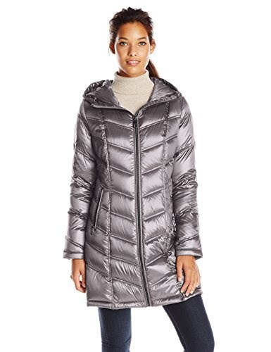 Calvin Klein Womens Mid-Length Packable Chevron Down Coat, Shine Granite, X-Small