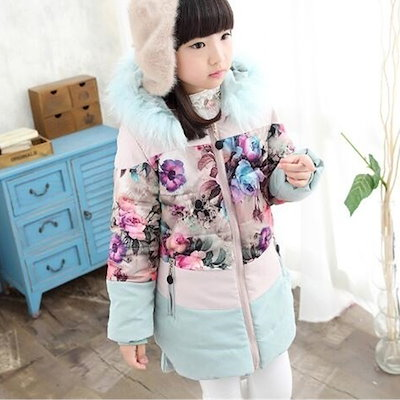 Girl s Korean Winter Round Neck Hooded Coat with Floral Print