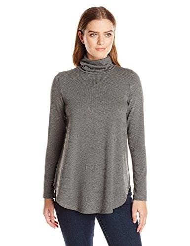 Karen Kane Womens Turtleneck Sweater, Dark Heather Gray, Large