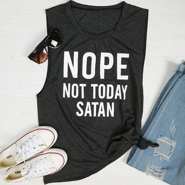 Women s Fashion Funny Sleeveless Nope Not Today Satan Tank Tops T-Shirt