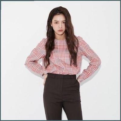 [ラップ]シャーリングディテールチェックブラウス(AK1WB165) /チェックシャツ/ブラウス/韓国ファッション