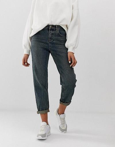 エイソス レディース デニムパンツ ボトムス ASOS DESIGN relaxed fit boyfriend jeans in rich aged washed blue