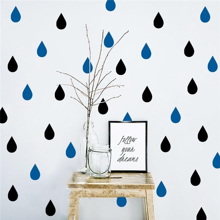 ウォールステッカー しずく型 雨滴 20個入り 壁飾り 部屋飾り シール キッズルーム ベビールーム 北欧 インテリア 雑貨子供部屋 赤ちゃん プレゼント【管理番号:F675】