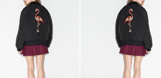 フラミンゴ刺繍 ミリタリー スタジャン ブルゾンジャンパー ジャケット大きなプラスサイズあり