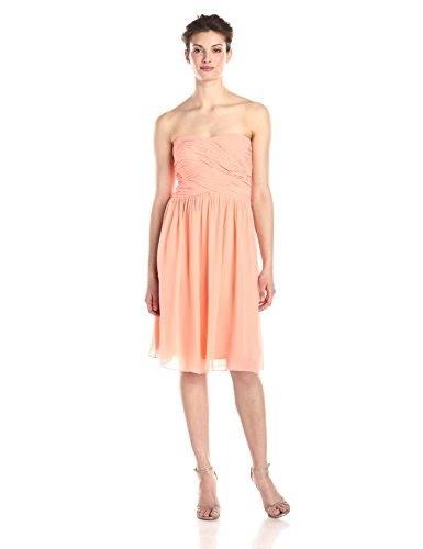 Donna Morgan Womens Anne Short Strapless Chiffon Dress, Peach Fuzz, 6