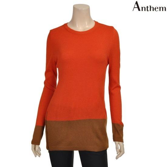 アンセム下段配色サイドジッパーポイントニットMVBBLQF824123 ロングニット/ルーズフィット/セーター/韓国ファッション