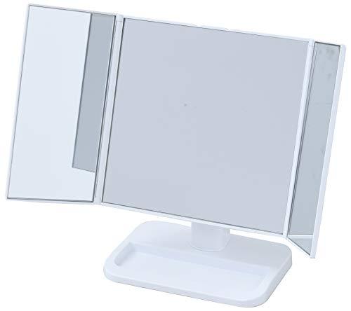山善 卓上 三面鏡 幅22-43奥行13高さ26.5cm コンパクト 収納スペース ホワイト PM3-4326(WH)ホワイト