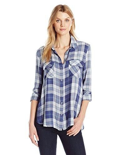 Seven7 Womens Flap Pocket Plaid Shirt with Side Slit, Elsa, Medium