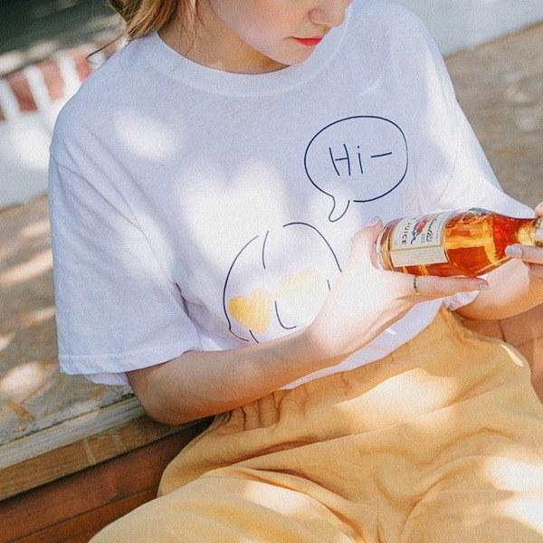 コロッケおかっぱの少女ティシャツx 4c new 女性ニット/ Vネックニット/韓国ファッション