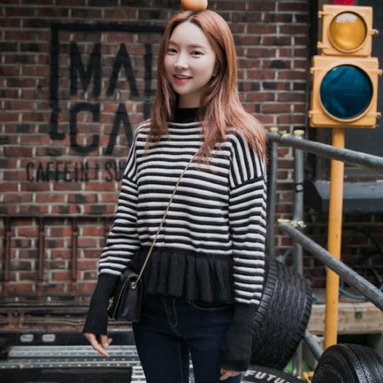 クルロドゥマノンロビッダンカララッフルニット ニット/セーター/ニット/韓国ファッション