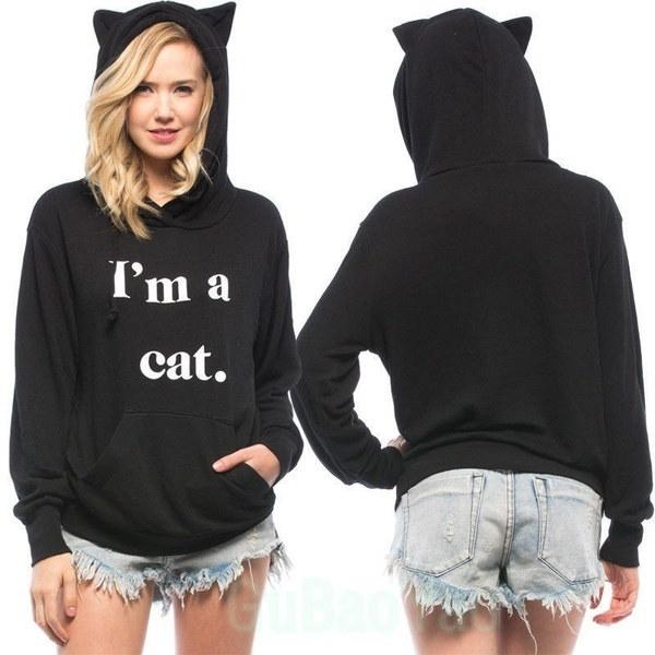 私は猫のスタイリッシュな猫のブラウスかわいい女性の女の子ロングスリーブTシャツヒップホップフード付きパーカー