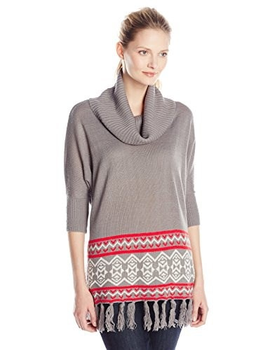 Allison Brittney Womens Aztec Dolman Cowl Neck Pull Over Sweater with Fringe, Grey, Large