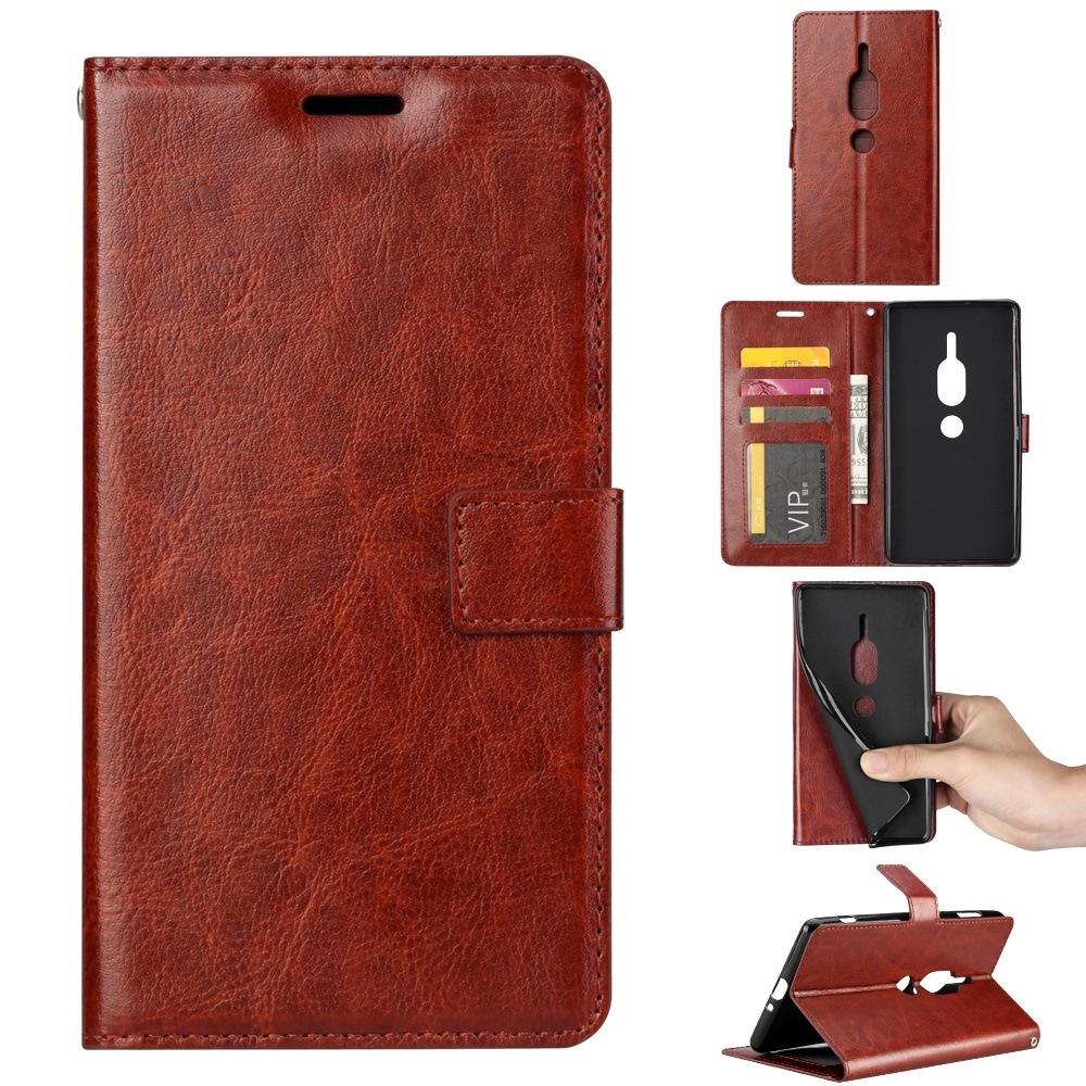 高級感素材Sony Xperia XZ2 Premium用レザーケース 写真・カード収納付き 手帳型 ポケット付き 財布型保護カバー マグネット横開き スタンドカバー 落下防止【I256】