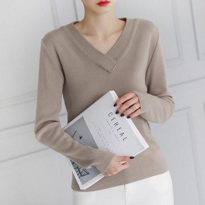 [送料無料]★5COLOR★ベーシックハチVネックニット(knit478)