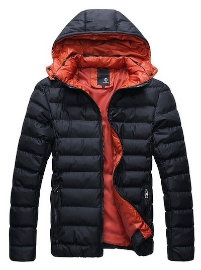Black Men s Detachable Hooded Jacket Coat