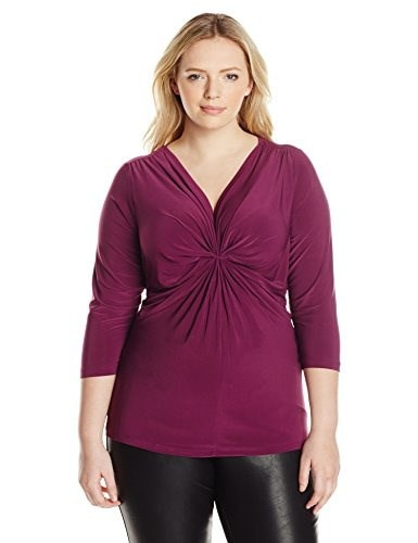 NY Collection Womens Plus-Size Solid 3/4 Sleeve Knit Front Pullover, Dark Purple, 2X