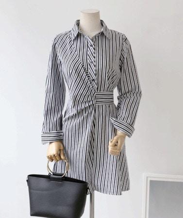 ストライプパターンベルトシャツ型ワンピース30584デイリールックkorea women fashion style