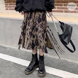 sk3495【wansmall】タイダイスリットスカート💎ユニークでおしゃれなミディ丈のスカート♡韓国ファッション/韓国コーデ/ベロア素材で秋冬にピッタリ!