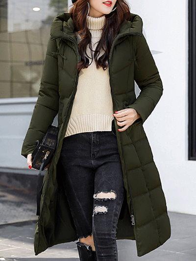 セレブリティ エレガント ジッパー 膝下丈 気質あふれ フード付き 暖かい 女性 ダウンコート