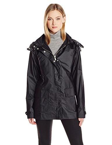ILSE JACOBSEN Womens Zip Front Hooded Raincoat, Black, XX-Large