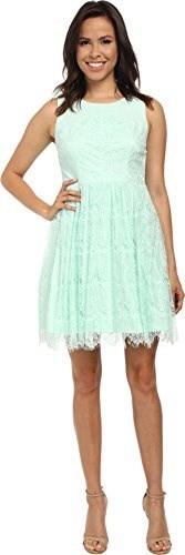 Jessica Simpson Womens Sleeveless Fit and Flare Lace Dress, Mint, 12