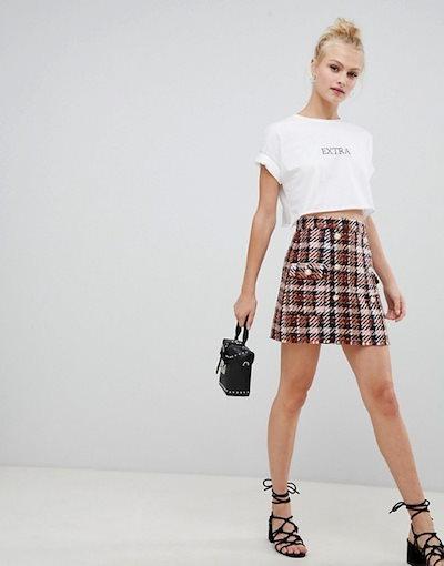 エイソス レディース スカート ボトムス ASOS DESIGN boucle check double breasted mini skirt with pearl buttons