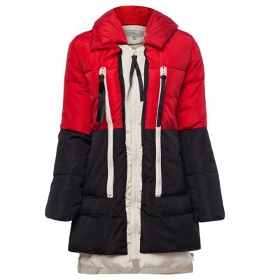 Simple Fashion Hooded Long Sleeves Patchwork Long Down Jacket Zippered A-line Cotton-Padded Coat for Women